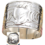"""Antique French Sterling Silver Napkin Ring, Ornate Louis XVI or Rococo Pattern, """"Lucien"""" Inscription"""