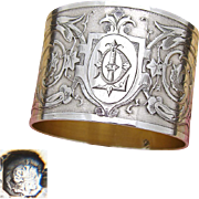 """Fabulous Antique French Sterling Silver Napkin Ring, Foliate & Textured Decoration, """"DL"""" Monogram"""