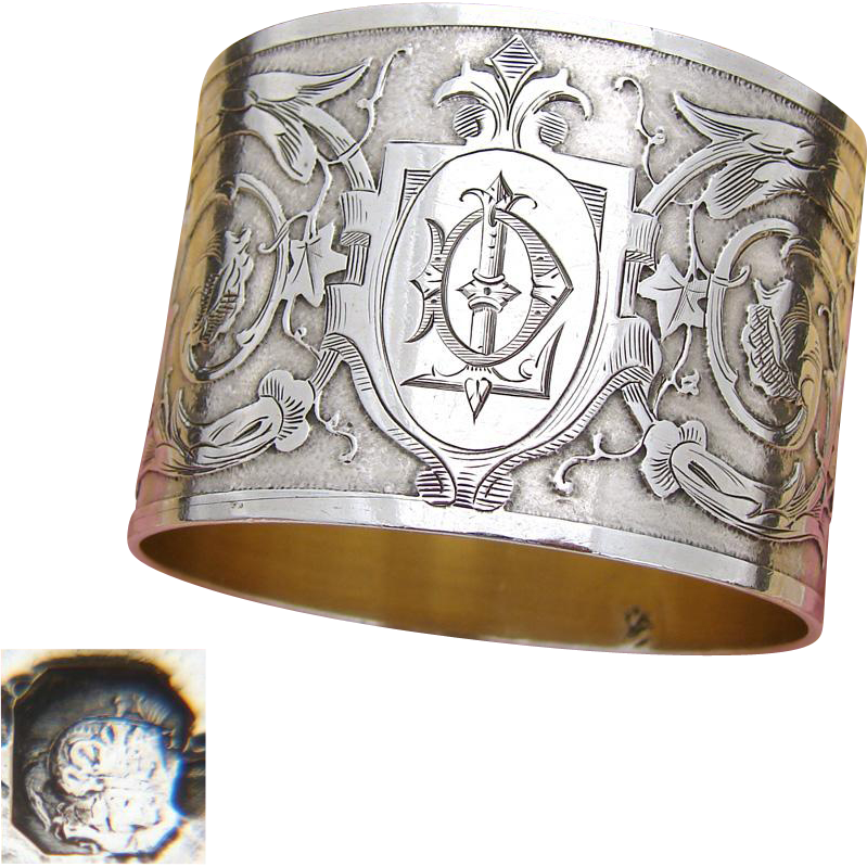 "Fabulous Antique French Sterling Silver Napkin Ring, Foliate & Textured Decoration, ""DL"" Monogram"
