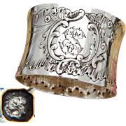 """Antique French Sterling Silver Napkin Ring, Ornate Louis XVI or Rococo Pattern, """"ES"""" Monogram"""