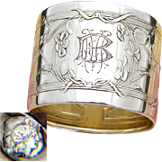 Gorgeous Antique French Sterling Silver Napkin Ring, Ornate Art Nouveau Style Floral Decoration, MB Monogram