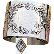 "Antique French Sterling Silver 2"" Napkin Ring, Ornate Raised Floral Decoration, No Monogram"