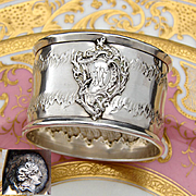 Antique French .800 Silver Napkin Ring, Ornate Rococo Style Decoration, Raised Medallion with TM Monogram