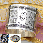 "Antique French Sterling Silver Napkin Ring, Guilloche Style Decoration, ""OL"" or ""DL"" Monogram"