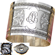 """Antique French Sterling Silver Napkin Ring, Guilloche Style Decoration, """"OL"""" or """"DL"""" Monogram"""