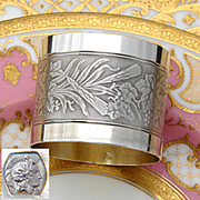 Antique French 800 (nearly sterling) Silver Napkin Ring, Machined Band: Agrarian Wheat Stalks, Grapes & Foliage