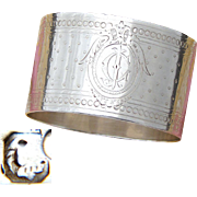 Antique French Sterling Silver Napkin Ring, Guilloche Style Decoration, CJ Monogram