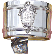 Antique French .800 Silver Napkin Ring, Classical Style Floral Decoration, Raised Medallion with Monogram