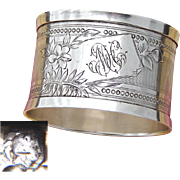 """Antique French Sterling Silver Napkin Ring, Guilloche Style Decoration, """"MH"""" Monogram"""