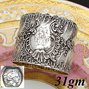 """Antique French Sterling Silver Napkin Ring, Ornate Louis XVI or Rococo Pattern, """"RR"""" Monogram"""