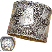 "Antique French Sterling Silver Napkin Ring, Ornate Louis XVI or Rococo Pattern, ""RR"" Monogram"