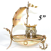 """Antique French Mother of Pearl & Ormolu Sail Boat, Ship, a """"Cherbourg"""" Souvenir Inkwell"""