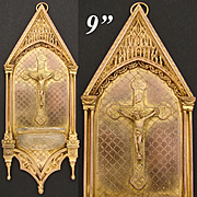 """Superb Antique French Dore Gilt Bronze 9.25"""" Benitier, Holy Water Font, Gothic Style"""