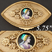 "Antique French Limoges Enamel Portrait, a Lovely 5.75"" Gilt Bronze Ormolu Jewelry Casket"