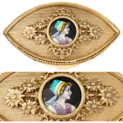 "Antique French Limoges Enamel Portrait, a Lovely 5.75"" Gilt Bronze Ormolu Jewelry Casket"