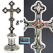 """Antique Italian 8 1/8"""" Micro Mosaic Altar Style Crucifix, Instruments of the Passion, """"Roma"""""""