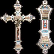 "Lg Antique Italian Grand Tour Era Micro Mosaic 8.25"" Crucifix, Souvenir Architectural Mosaics: The Vatican"