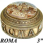 "Antique Italian Grand Tour Jewel Casket, 4 Micro Mosaics, ""Roma"", Vatican & Coliseum"
