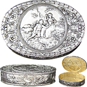 "Lg Antique Continental .800 (nearly sterling) Silver 4"" Table Snuff, Jewelry Casket: Romantic & Musical Bas Relief"