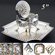 """Exceptional & Rare Antique French Sterling Silver 5"""" Inkwell, Winged Cherub or Putti Figures"""