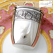 """Antique French Sterling Silver Wine or Mint Julep Cup, """"Timbale"""" with Guilloche Decoration & """"Stanislas"""" Inscription"""