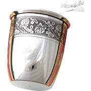 "Antique French Sterling Silver Wine or Mint Julep Cup, ""Timbale"" with Guilloche Decoration & ""Stanislas"" Inscription"