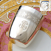 """Antique French .800 Silver Wine or Mint Julep Cup, """"Timbale"""" with Guilloche Decoration & """"TC"""" Monogram"""