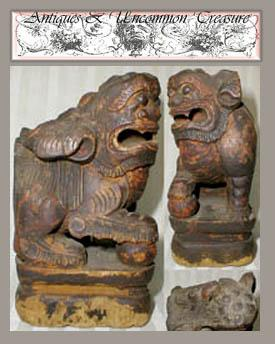 Ancient Tibetan Carved Wood Foo Dragon/ Temple Dog/Lion - 17th-18th century