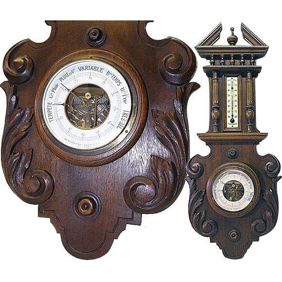 Large Antique Black Forest Carved Case Wall Barometer/Thermometer