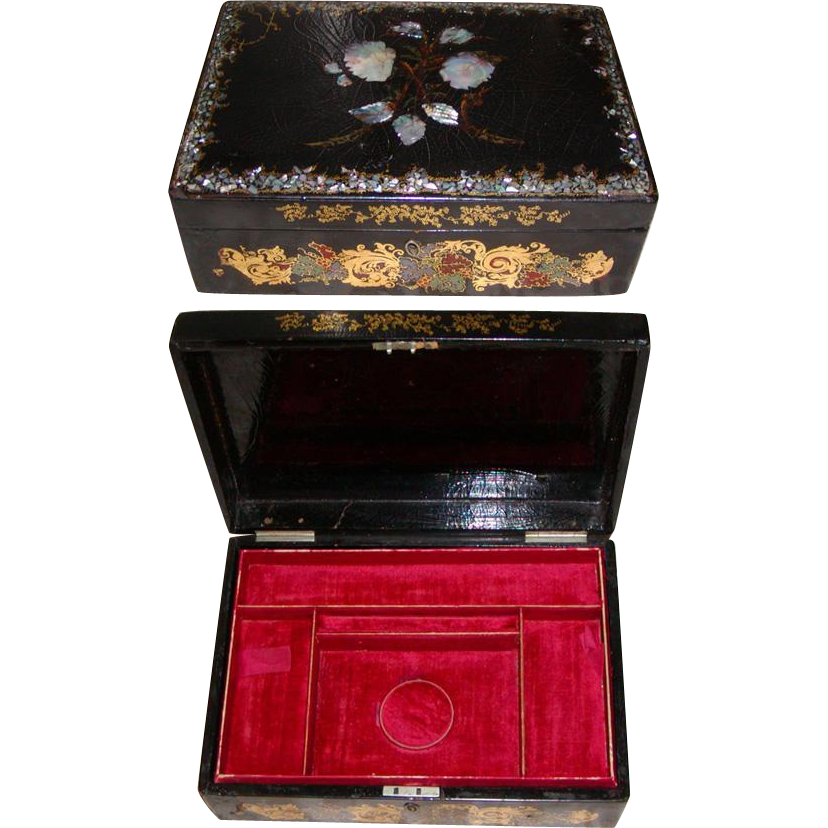 Large Antique Victorian Jewelry Chest Casket, Papier Mache & MOP