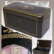 Fab Antique Napoleon III Tea Caddy, MOP Inlay Desk Box