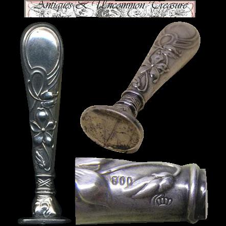 Fine Antique .800 Silver Wax Seal or Sceau, Art Nouveau