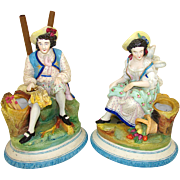 Antique Pair Old Paris Porcelain Figures, Spill or Cigar Holder