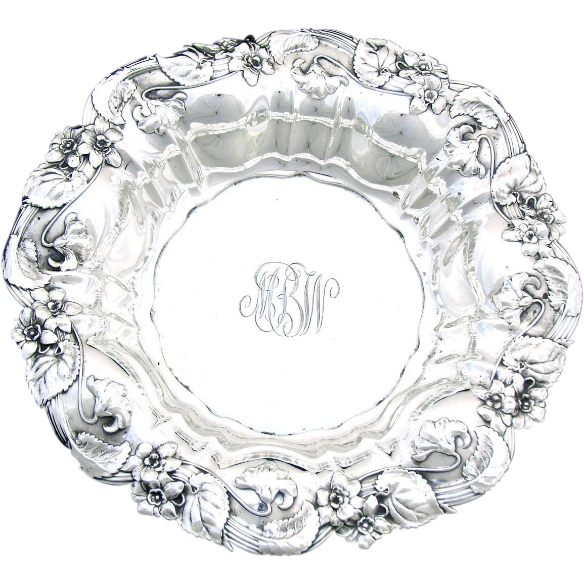 "Antique Whiting-Gorham Sterling Silver 9"" Bowl, Ornate Repousse"