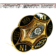 """Antique Victorian 12K Gold Mourning Brooch, IMO """"In Memory Of Margaret & Sarah Woods""""  11.3 Grams"""