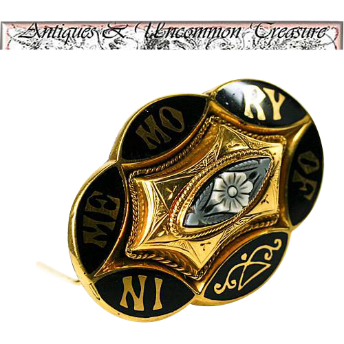 "Antique Victorian 12K Gold Mourning Brooch, IMO ""In Memory Of Margaret & Sarah Woods""  11.3 Grams"
