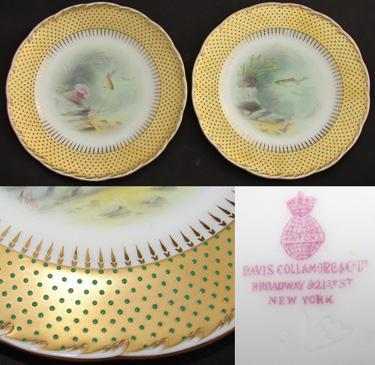 """Rare PAIR Antique Minton 9"""" Plate Pair, Gold & Raised Enamel"""