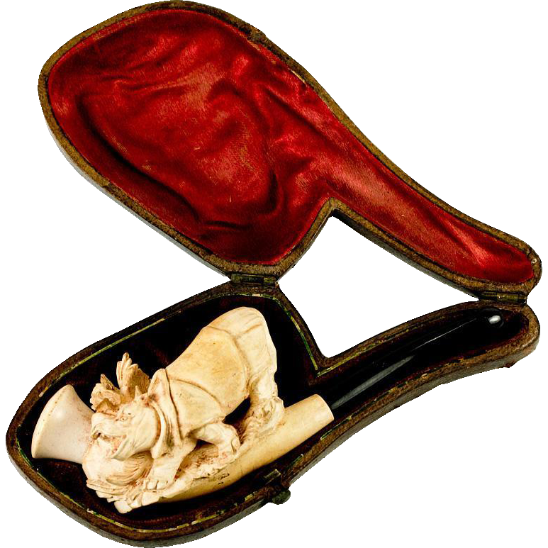 RARE Antique Figural Meerschaum Pipe, Case, A Rhino