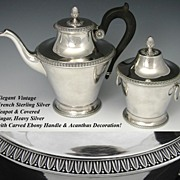Vintage French Sterling Silver 2pc Set: Lrg Tea Pot & Sugar