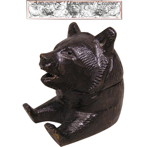 Fab Antique Black Forest Bear Single Inkwell, Paw Pen Tray/Glass Eyes