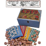Antique Dovetail Wooden Lotto Game Box, 114 Game Boards/Pieces