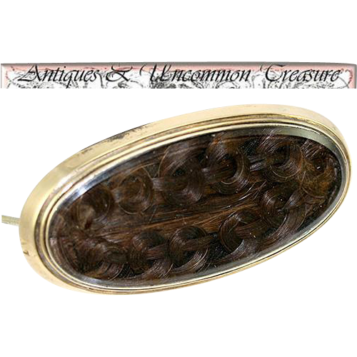 Antique Hair Art Brooch, French Artistry, Memorial Jewelry