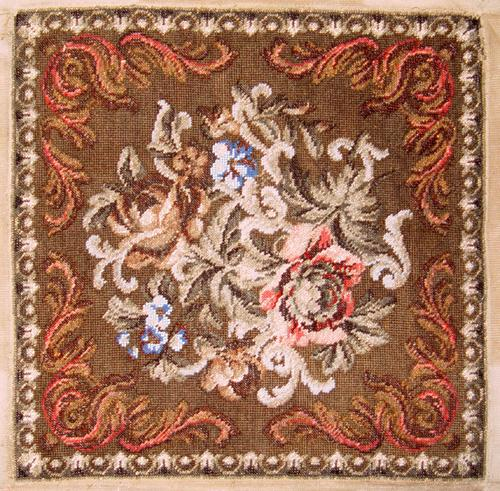 "RARE 14.5"" Sq. Antique Victorian Beadwork Needlepoint Panel"
