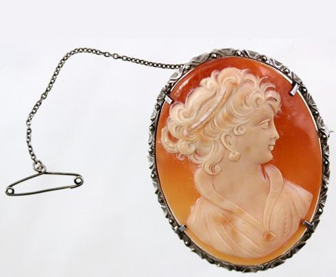 Antique Hand Carved Shell Cameo, Victorian to Edwardian Era, Silver Mount