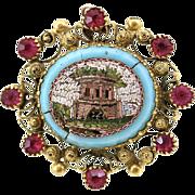 Antique Victorian Era Micro Mosaic 18K Gold Ruby Brooch