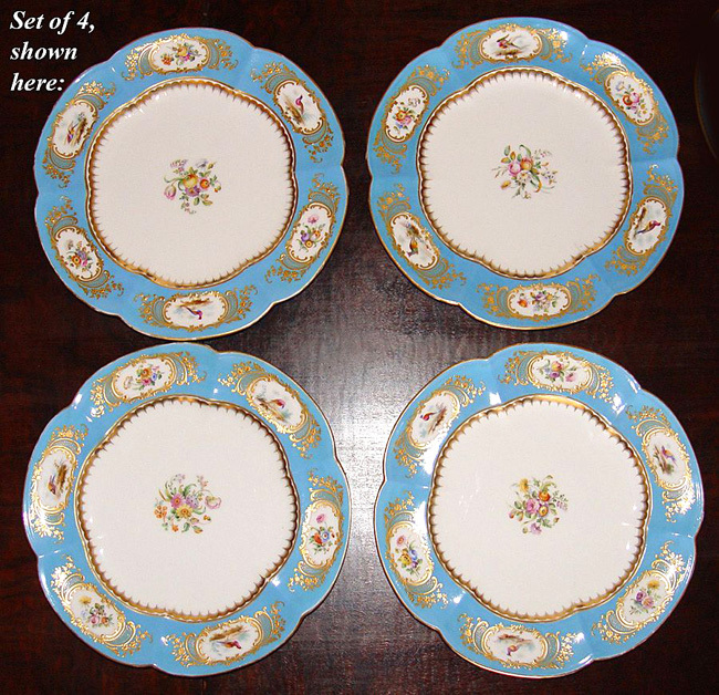 Rare Set of 4 Antique Coalport for A.B. Daniell Hand Painted Cabinet Plates, Ornithological & Floral