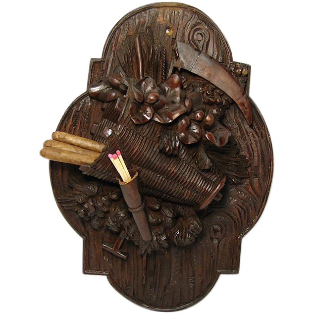 Fine Antique Black Forest Carved Wall Plaque, Match & Spill Holder