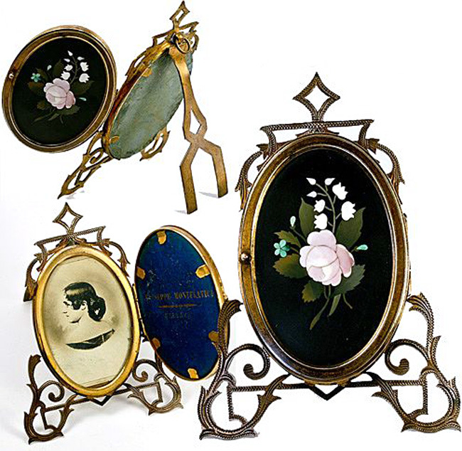 Pietra Dura Locket Frame, Antique Grand Tour Plaque - A Master-signed plaque - Florence, Italy treasure!