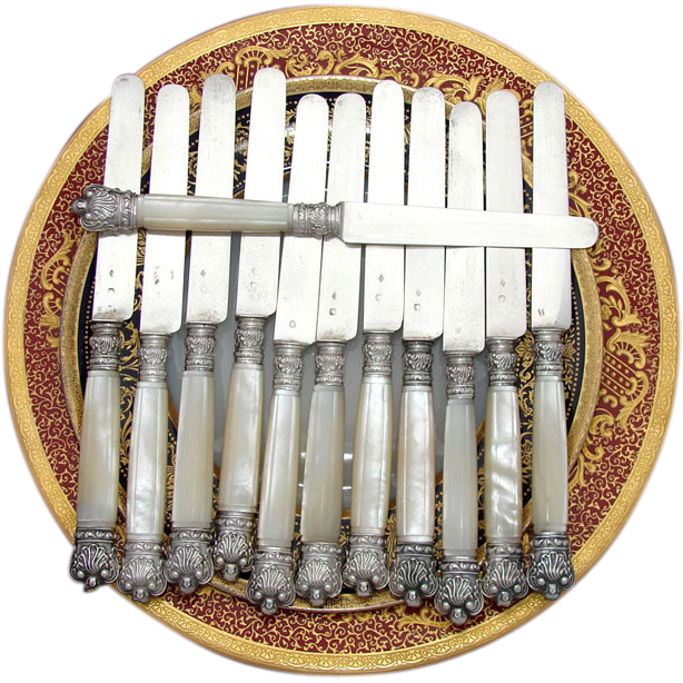 Elegant Antique French .800 Silver & Mother of Pearl Knife Set