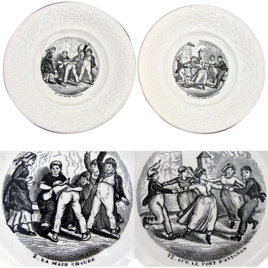 Antique French Faience Cabinet Plate Pair, Children at Play